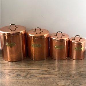 Vintage Copper Kitchen Canister Set